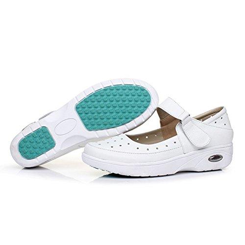 Zapatos ocasionales de las mujeres/Parte inferior plana antideslizante acolchados zapatos/Sandalia traspasada/Zapatos de enfermera blancos B