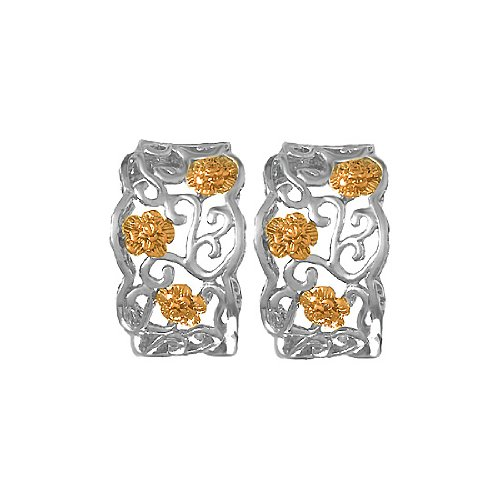 925 Sterling Silver Filigree Rectangle Earrings With 14K Rose Gold Flowers - 14k Contemporary Earrings