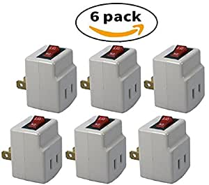 Single Port Power Adapter for outlet with On/Off Switch to be energy saving - VALUE PACK!! - 6 pcs