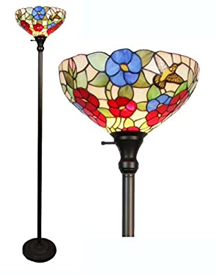 Amora Lighting Tiffany-style AM022FL14 Hummingbirds Floral Torchiere Floor Lamp 70 Inches Tall
