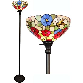 Amora lighting tiffany style am022fl14 hummingbirds floral amora lighting tiffany style am022fl14 hummingbirds floral torchiere floor lamp 70 inches tall aloadofball Choice Image