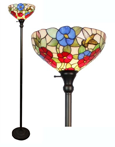 Floral Stained Glass Floor Lamp - Amora Lighting Tiffany-style AM022FL14 Hummingbirds Floral Torchiere Floor Lamp, 70