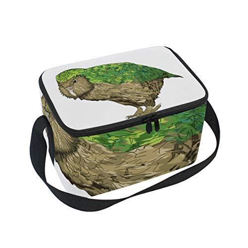 Lunch Bag Kakapo New Zealand Bird, Large Insulated Bento Cooler Box with Black Shoulder Strap for Men Women Kids, BaLin 10