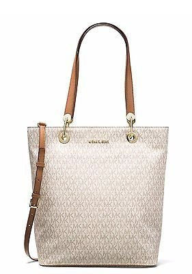 MICHAEL Michael Kors Raven Large North South Top Zip Tote (Signature Vanilla) Tote Top Zip Handbag