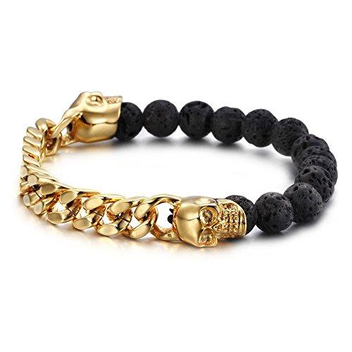 c4e5d803b969 HAMANY Cráneo de acero inoxidable de la lava de oro y pulsera de color  Negro Hombres