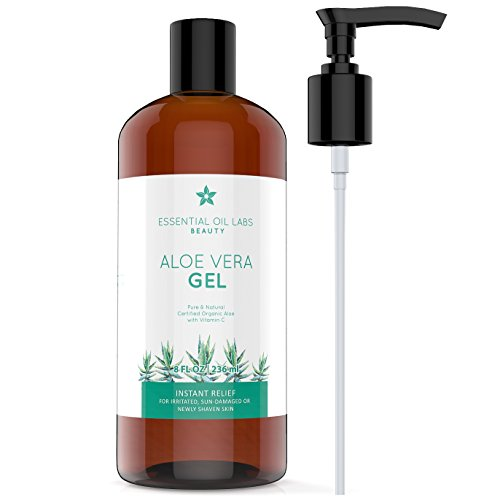 Essential Oils Gel Moisturizer - Aloe Vera Gel, 8 oz, Organic, Pure and Natural - Instant Hydrating Relief For Irritated Skin by Essential Oil Labs