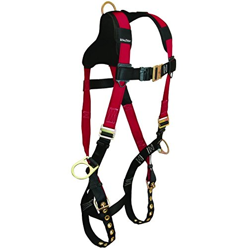 (FallTech 7010B Tradesman+ Std Non-Belted Harness, 3 D-Rings, Back/Side; TB Legs/MB Chest; Enhanced Webbing; Tri-Layer Air Mesh Shoulder Yoke, UniFit, Small/Medium/Large, Red)