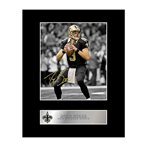 (Drew Brees Signed Mounted Photo Display New Orleans Saints NFL #1 Autographed Gift Picture Print )