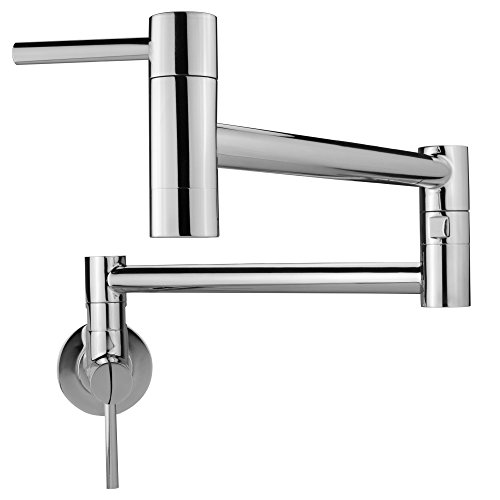 (Geyser GF46 Andorra Series Stainless Steel Wall Mount Two Handle Pot Filler Faucet (Chrome Polish Finish))