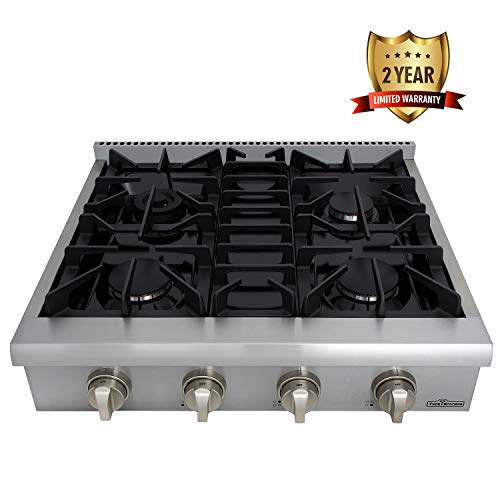 Thor Kitchen Silver 30'' Pro-Style Gas Range Cooktop Rangetop Gas Stove Top Cookerwith 4 Burners and Light Up Control Knob - 2-Years-Warranty - Stainless Steel