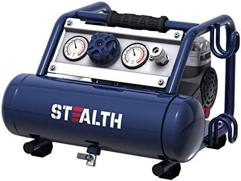 STEALTH Ultra Quiet Air CompressorOil-Free 12HP 1 Gallon Stainless Steel Portable Air Compressor Blue (SAUQ-1105) / STEALTH Ultra Quiet Air CompressorOil-Free 12HP 1 Gallon Stainless Steel Portable Air Compressor Blue (SAUQ-1105)