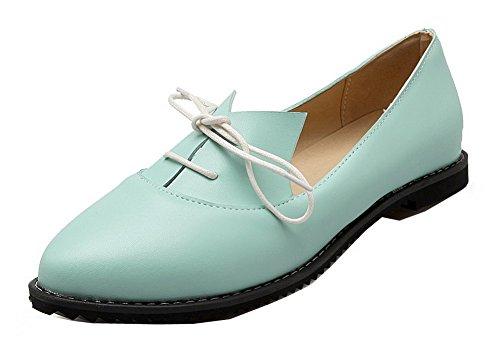 Allhqfashion Mujer-round-toe Low-heels Pu Bombas-zapatos Sólidos Azul