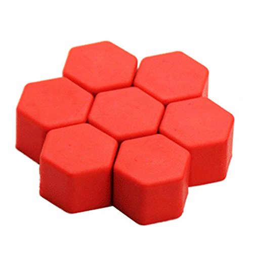 TOOGOO(R) New Arrival 20 Units 19mm Silicone Car Wheel Rims External Screws Nuts Screws Car Covers Caps Red 103548A2