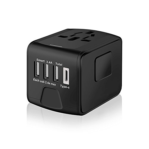SAUNORCH Universal International Travel Power Adapter W/High Speed 2.4A USB, 3.0A Type-C Wall Charger, European Adapter, Worldwide AC Outlet Plugs Adapters for Europe, UK, US, AU, Asia-Black (Adapter Universal Wall Power)