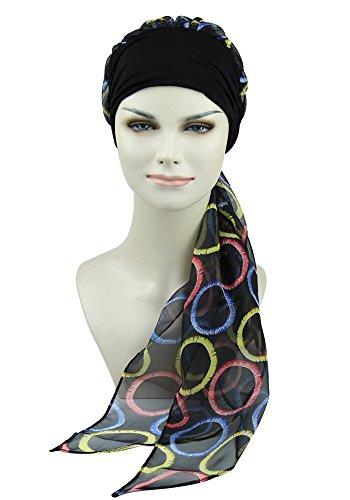 Easy Tie Head Scarfs For Chemo Women Hair Loss Cap Alopecia Beanie Print Bandana by FocusCare