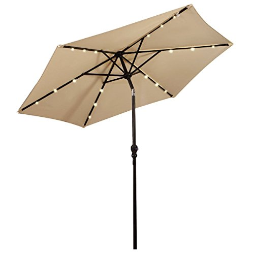 Giantex 9FT Patio Solar Umbrella LED Patio Market Steel Tilt W/Crank Outdoor