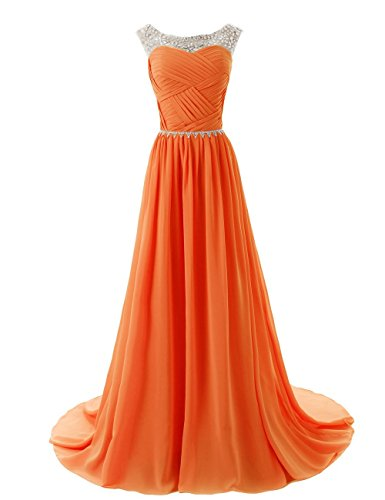 Orange Homecoming Dresses (Women's Beaded Bridesmaid Prom Dress Long Chiffon Homecoming Party Gowns Orange US8)