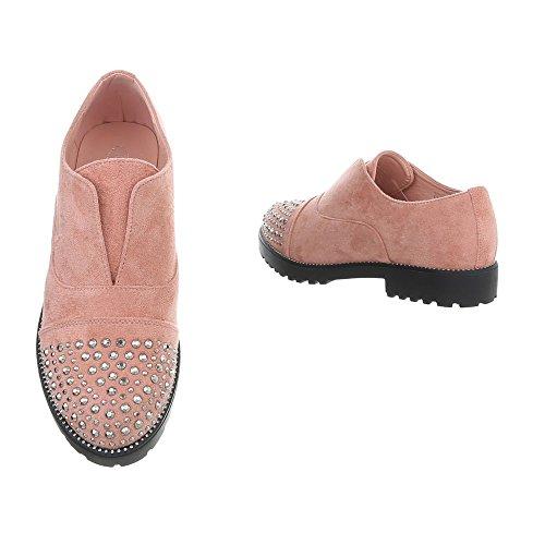 Ital-Design Women's Loafer Flats Block Heel Slippers Pink 22-2 pWv0t