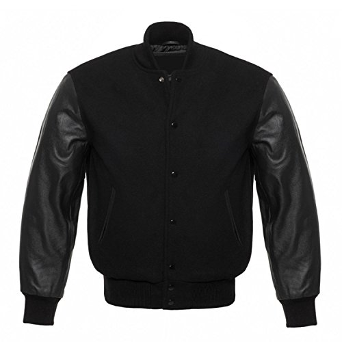 Solid Black Varsity Letterman Wool and Genuine Leather Sleeves Jacket (L, Solid - Leather Letterman