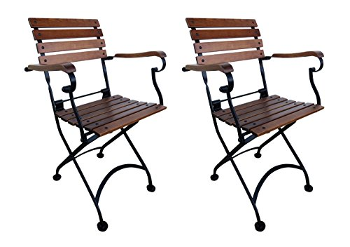 Mobel Designhaus French Café Bistro Folding Armchair, Jet Black Frame, European Chestnut Wood Slats with Walnut Stain (Pack of 2)