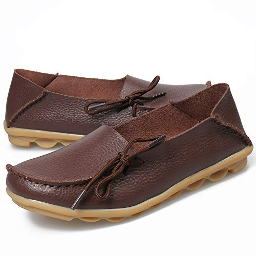 Shoes Coffee Loafers Moccasins Slip Driving Oxfords Leather Women's Women Coach Breathable Comfort On Casual Flat q1xf66nt