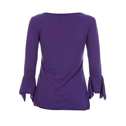 Haut Tefamore Manches S T violet Lache Tops Mode Femmes Shirt Casual Longues Blouse xZYwqnSvH