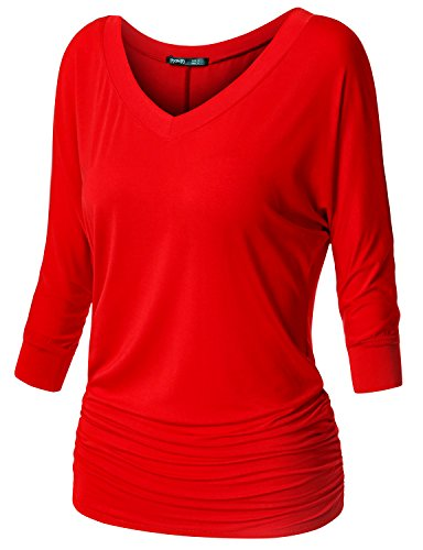 TWINTH Womens 3/4 Sleeve Dolman Drape Top with Side Shirring Loose Fit Tunic Top Plus Size Red XX-Large