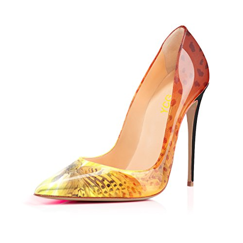 Printing 2 Women's Butterfly on YCG Pattern Cow Pumps Yellow Shoes Slip Heels High HZxw7CYq