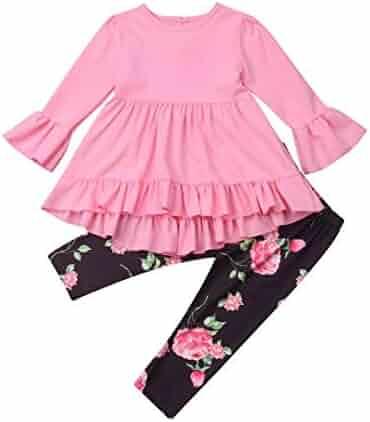 8ecedde2020ca 2Pcs Kids Toddler Girls Flare Sleeve Ruffle Shirt Top Dress Floral Leggings  Pants Autumn Winter Outfit