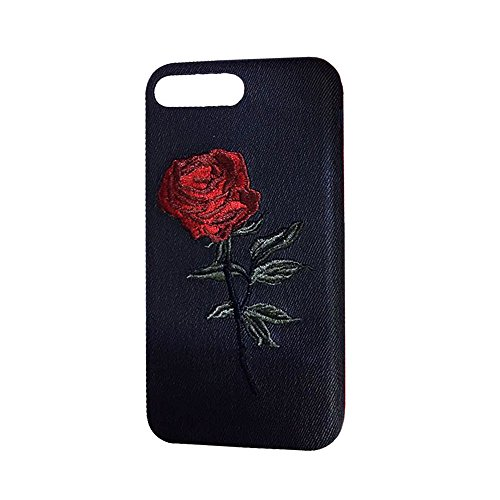 IPhone 8 / 7 Plus Case , Transer Creative Embroidery Rose Soft TPU Protective Case Cover For IPhone 8/7 Plus 5.5 Inch (Black) (Case Embroidery)