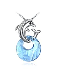Cute Necklace, Fairy Season Girl Daughter Dolphin Pendant Necklace, Crystals from Swarovski with Jewelry Gift Box
