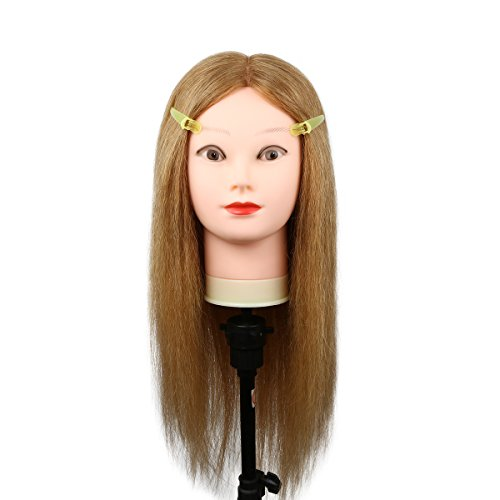 Price comparison product image Female Blond Mannequin Head, Cosmetology Doll Head Professional Training Head 100% Human Hair Hairdresser Manikin 24 Inch Long Hair with Table Clamp