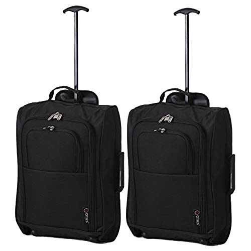 Merveilleux Set Of 2 Super Lightweight Cabin Approved Luggage Travel Suitcase (Black  Plain)