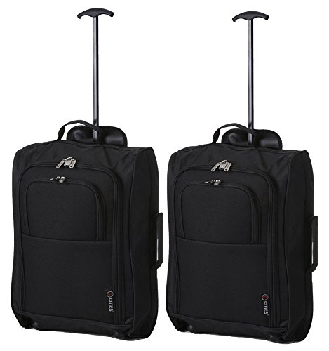 Set Of 2 Super Lightweight Cabin Approved Luggage Travel Suitcase  Black Plain