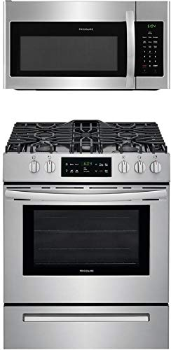 Frigidaire 2-Piece Kitchen Appliance Package with FFGH3054US 30″ Slide-in Gas Range and FFMV1645TS 30″ Over the Range Microwave in Stainless Steel