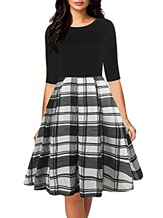 oxiuly Women's Vintage Half Sleeve Round Neck Contrast Casual Pockets Party Cocktail Swing Dress OX253 (S, B-W Plaid)