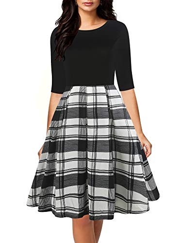 oxiuly Women's Vintage Plaid Half Sleeve O-Neck Contrast Casual Pockets Party Swing Dress OX253 (L, B-W - Plaid Holiday Dress