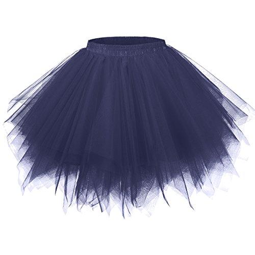 Girstunm Women's 1950s Vintage Petticoats Bubble Tutu Dance Half Slip Skirt Navy Blue S/M