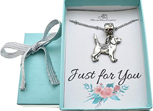Beagle Charm Pendant Necklace in silver pewter on a 20