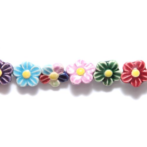 Peruvian Shipwreck Hand Crafted Ceramic Daisy Flower Beads, 12mm, Assorted, 10 Per Pack