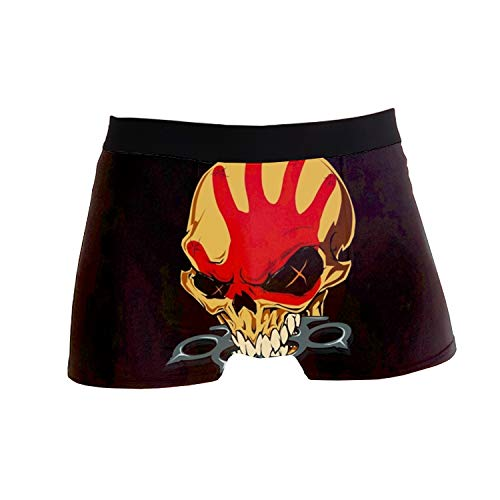 Men's Boxer Briefs Breathable Underwear Comfortable No-Ride up Five Finger Death Punch Hipster (Death Solves All Problems No Man No Problem)