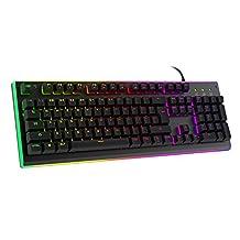 HAVIT HV-KB380L LED Backlit Wired Gaming Keyboard, Mechanical-Similar Typing Experience (Black)