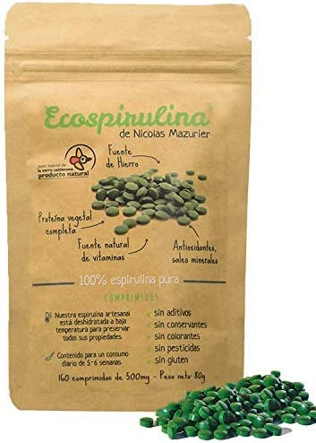 ECOSPIRULINA | Espirulina Ecológica y Orgánica | 160 comprimidos Spirulina Pura de 500mg | 100% BIO| Superalimento Natural Proteínas- Vitaminas - ...