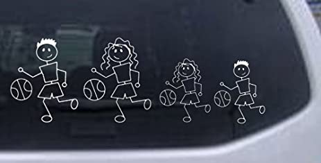 Amazoncom Basketball Stick Family Stick Family Car Window Wall - Family decal stickers for carsamazoncom stick family stick family car window wall laptop decal