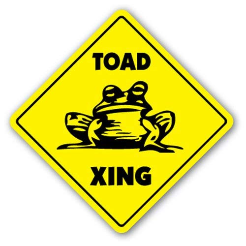 Alfr553Meg Toad Yellow Diamond Crossing Sign Xing Lovers Cage Toads Frog Gift Funny Metal Signs Wall Plaque Graduation ()