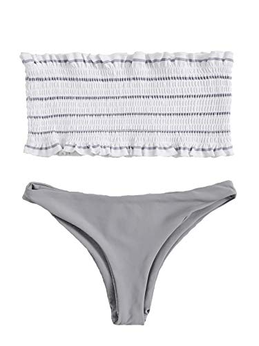 DIDK Women's Random Striped Frill Trim Shirred Bandeau Bikini Set Grey S