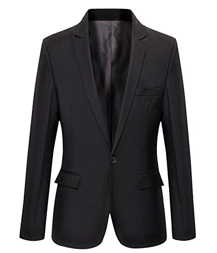 Mens Slim Fit Casual One Button Blazer Jacket (L, 303 Black) by Benibos