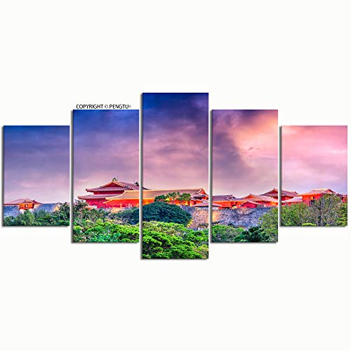 - PENGTU Paintings Modern Canvas Painting Wall Art Pictures 5 Pieces Okinawa Japan shuri Castle Wall Decor HD Printed Posters Frame