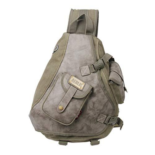 Vintage Messenger Mens Shoulder Sling Canvas Black Cross Leather Casual Body Bag Pack Chest Men 4dxIn8f5q4