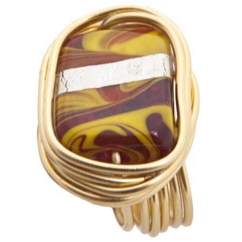 Handmade Anillo ESPAÑA, engarzado en Hilo de Cobre dorado, de Talla Ajustable.: Amazon.es: Handmade